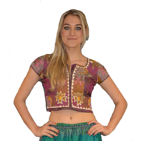 Hand Embroidered Silk Purple Crop Top