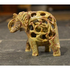 Hand Carved Stone Elephant - Vintage India NYC