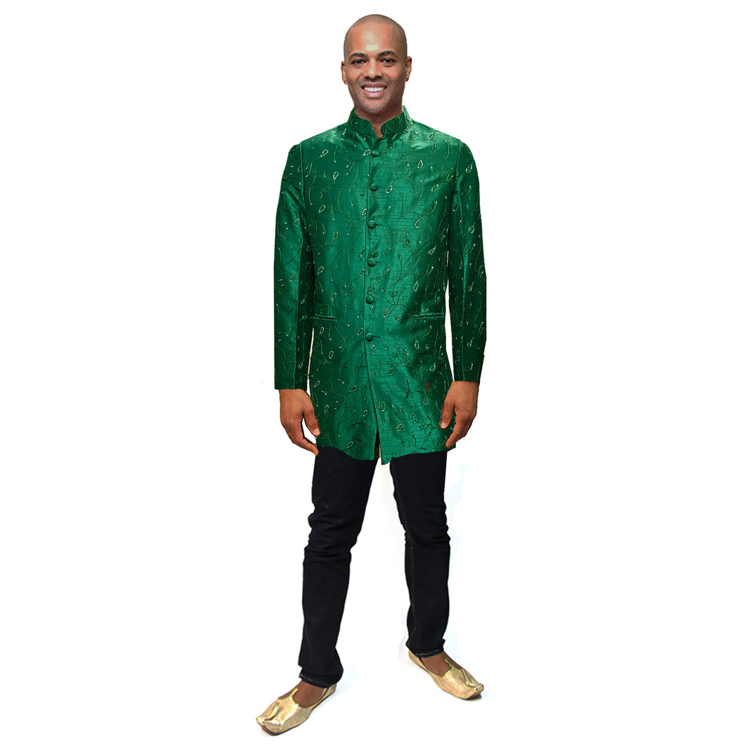 Green Silk Indowestern Sherwani - Vintage India NYC
