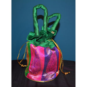 Green & pink fancy purse - Vintage India NYC