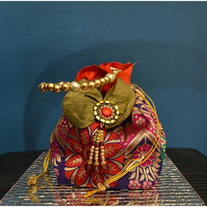 Olive green & red multi-colored fancy bag - Vintage India NYC