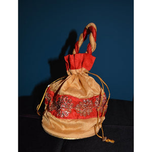 Red & gold fancy purse - Vintage India NYC