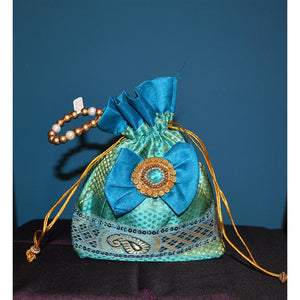 Peacock blue fancy purse - Vintage India NYC