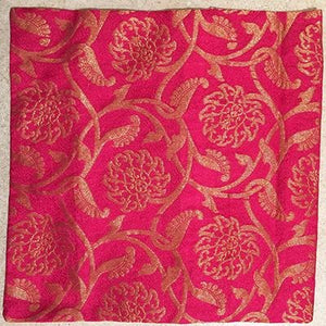 Fuschia and gold silk pillowcover 12 x 12
