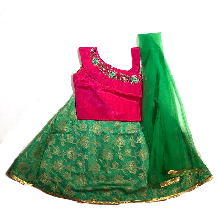 IE Girls Pink & Green Lehenga