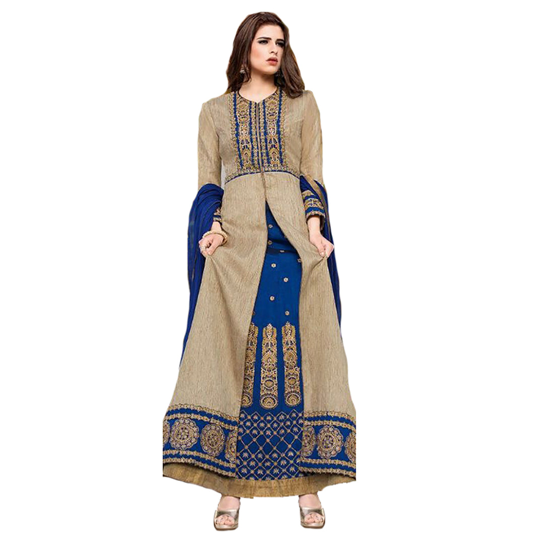 PK Gold and Blue Anarkali Gown