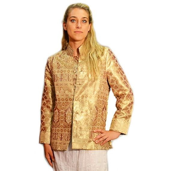Hand made Gold Silk Nehru Jacket