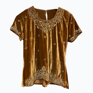 Gold Velvet Top with Zardosi Embroidery - Vintage India NYC