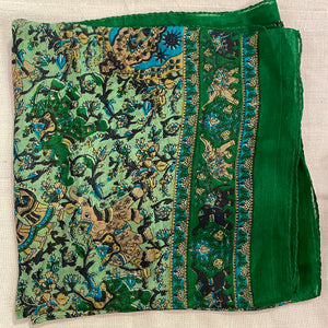 Elephant Print Silk Scarves - Vintage India NYC