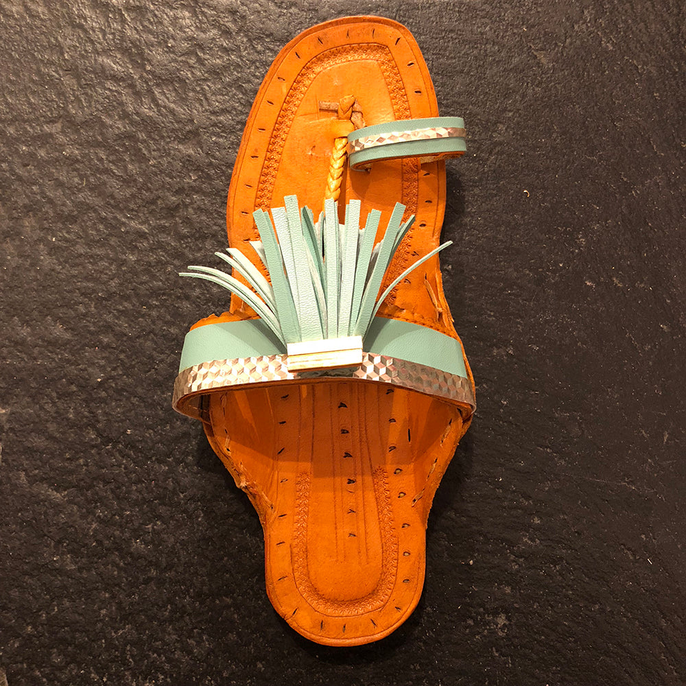 RP Handmade Indian Sandal-Mint - Vintage India NYC