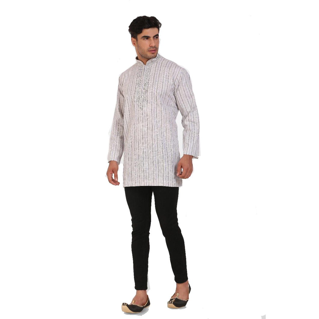 DT Grey & White Cotton Short Kurta