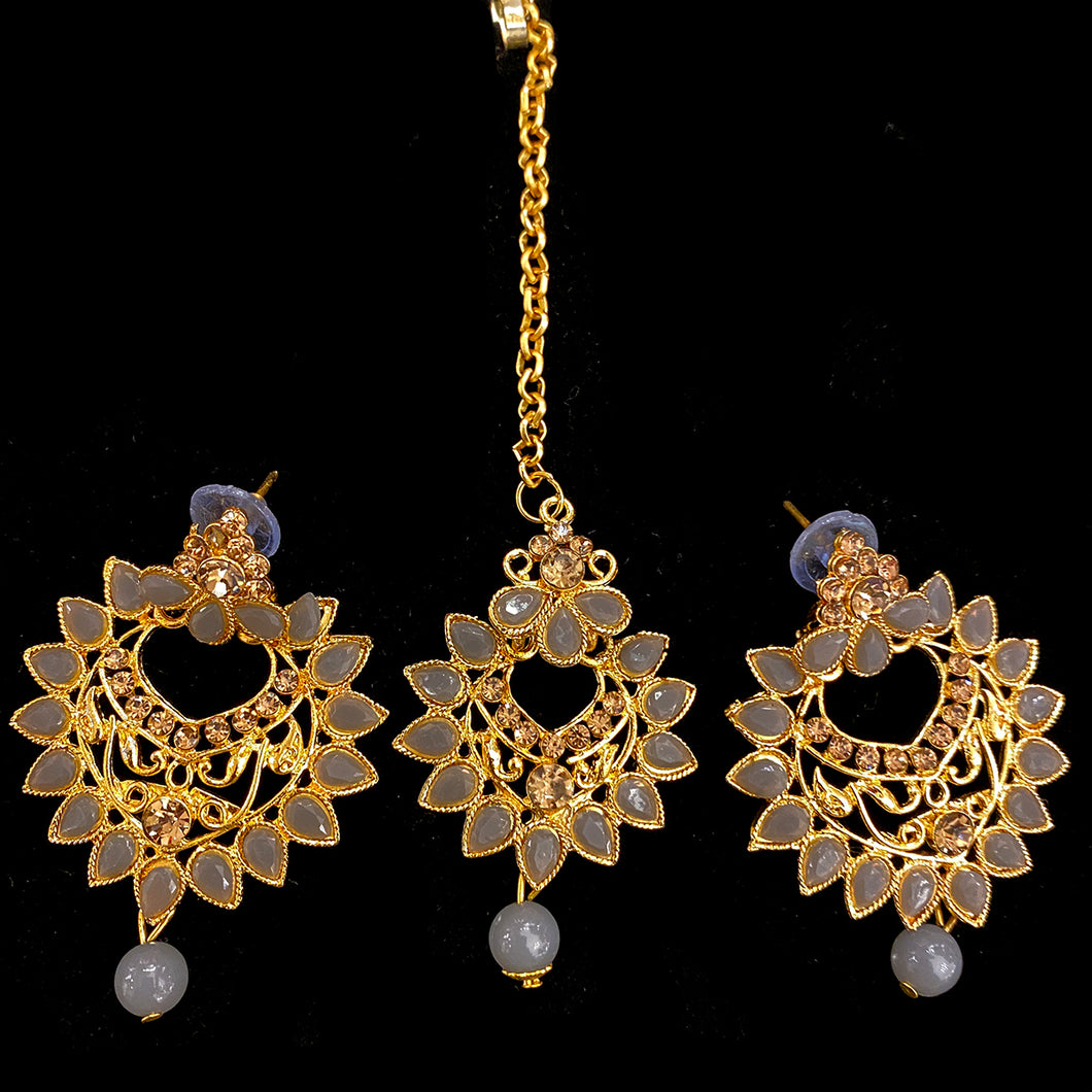 Grey Earring and Tikka Set - Vintage India NYC