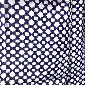 Navy & White Cotton Curtain Pair-5 Patterns - Vintage India NYC