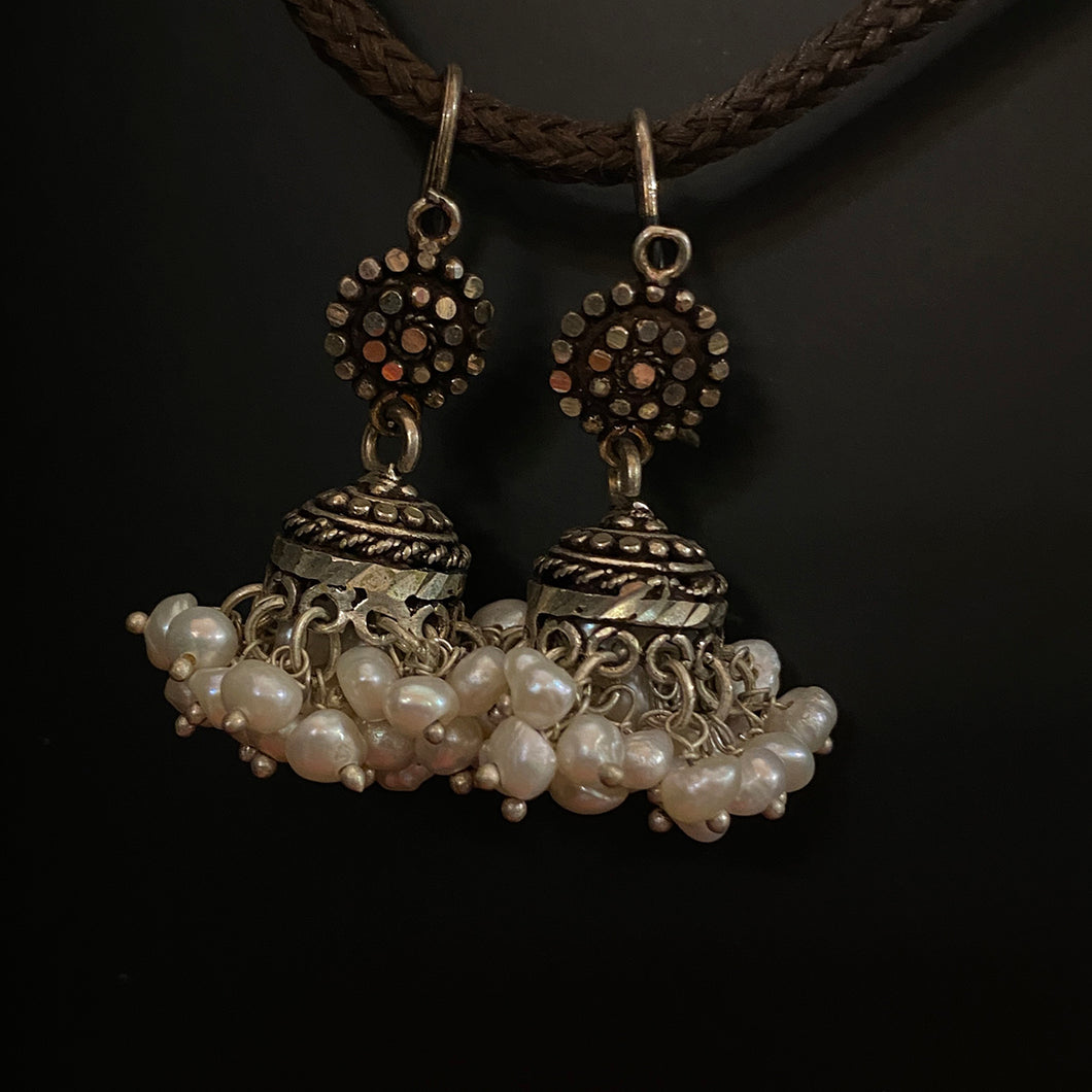 Silver Indian Jhumka Earrings with pearls - Vintage India NYC