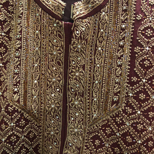 Full Embroidered Chikan Maroon Sherwani