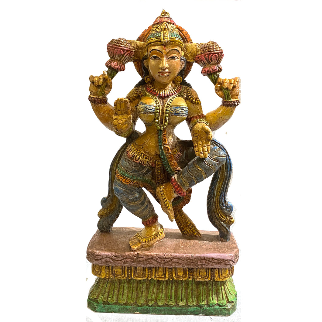 Wooden Lakshmi  Statue - Vintage India NYC
