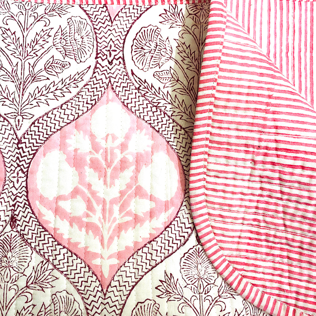SC Blockprint Baby Blankets-Pink & Purple - Vintage India NYC