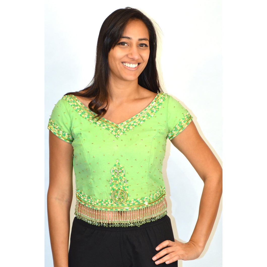 Lime silk crop top with beading and sequins