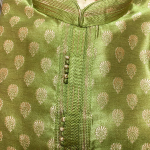 YD Lime Green Brocade Kurta - Vintage India NYC
