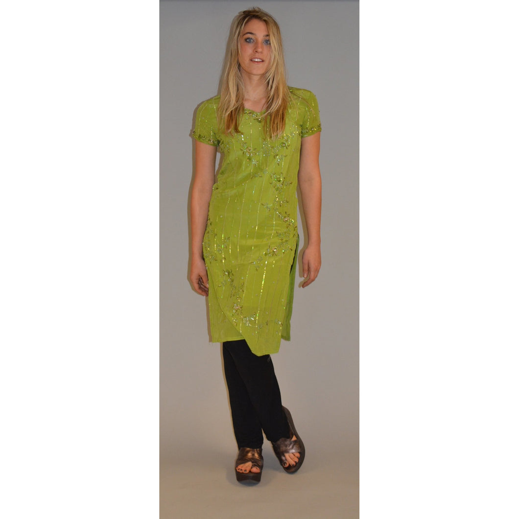 Lime green tunic dress - Vintage India NYC