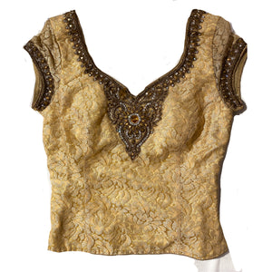 Long Gold Choli Blouse - Vintage India NYC