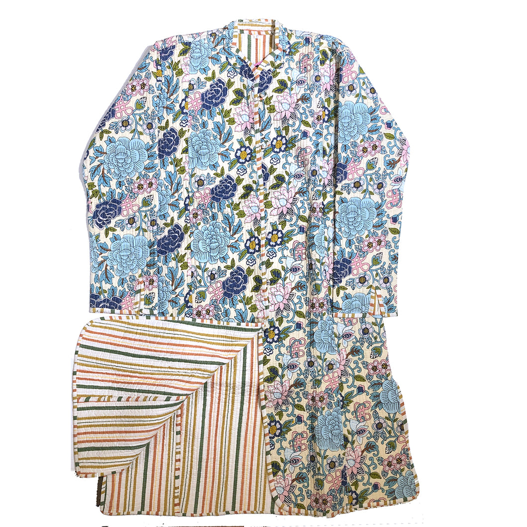 VR Blue Floral Quilted Coat-Long - Vintage India NYC