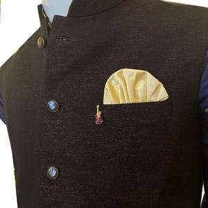 YD Maroon and Black Vest - Vintage India NYC