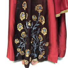 SH Maroon Floral Gown - Vintage India NYC