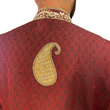Maroon Sherwani with Brass Beadwork