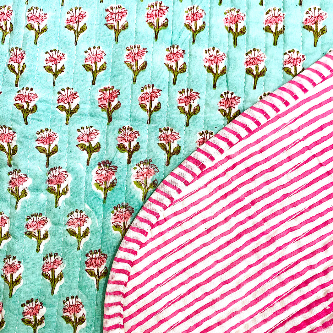 SC Blockprint Baby Blankets-Mint & Pink - Vintage India NYC
