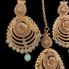 Mint and Gold Earring and Tikka Set - Vintage India NYC
