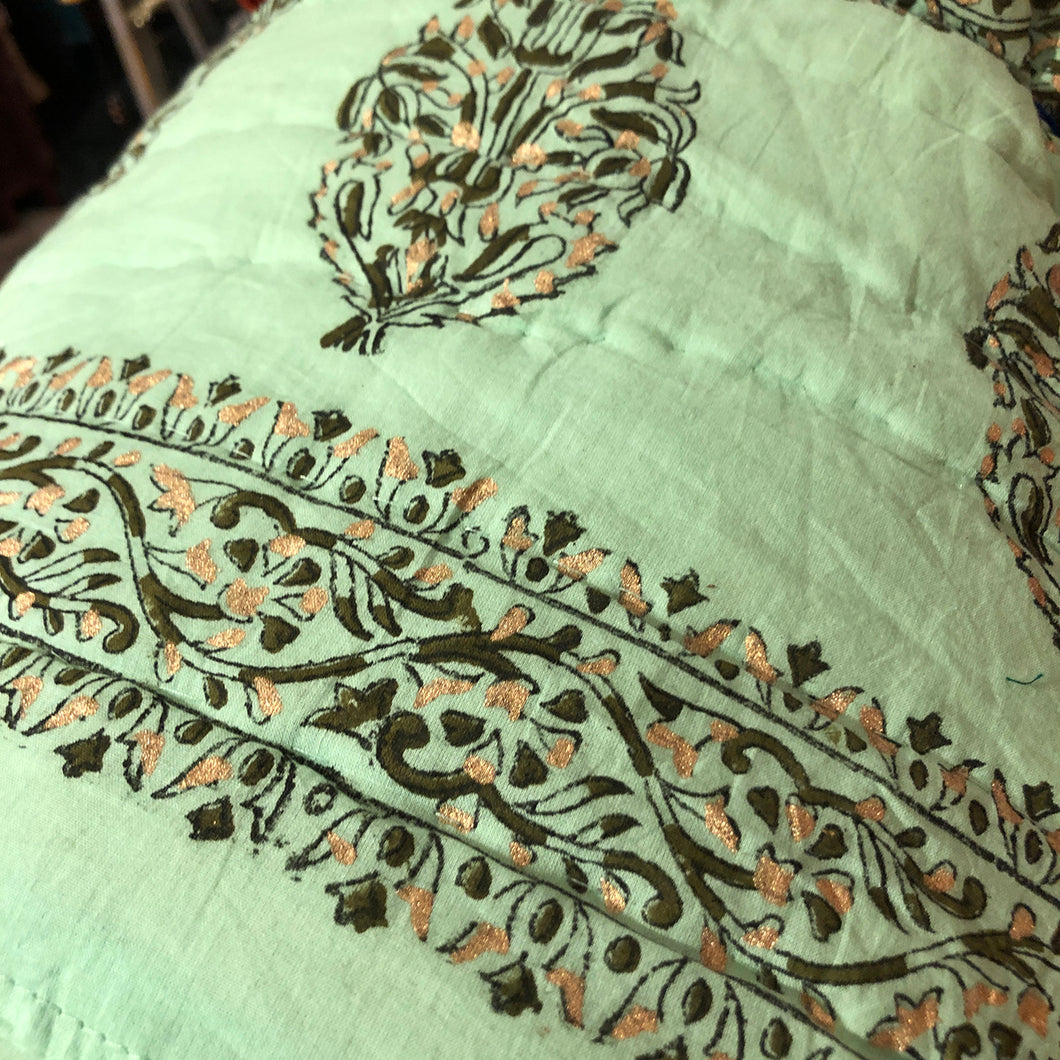 JM Twin Block Print Quilt Mint - Vintage India NYC