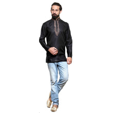 MJ Black Cotton Silk Short Kurta