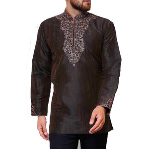MJ Coffee Short Kurta - Vintage India NYC