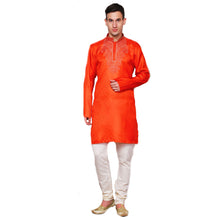 MJ Orange Light Brocade Kurta