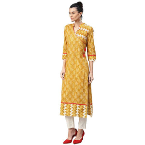 JK Mustard Blockprint Kurta - Vintage India NYC