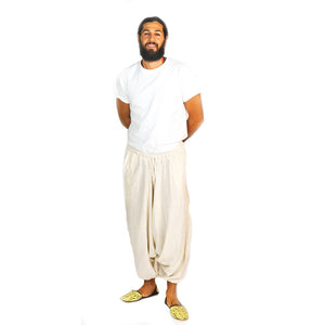 Organic cotton harem pants-off white