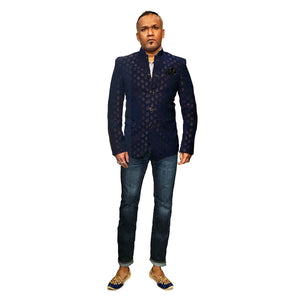 YD Navy Brocade Jodhpuri Suit Jacket