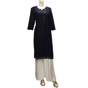 Navy Cotton Kurta with Sequins - Vintage India NYC