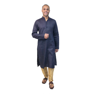 YD Navy Linen Kurta - Vintage India NYC