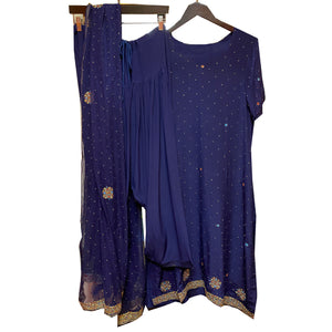 Navy Silk Salwar Kameez Set - Vintage India NYC
