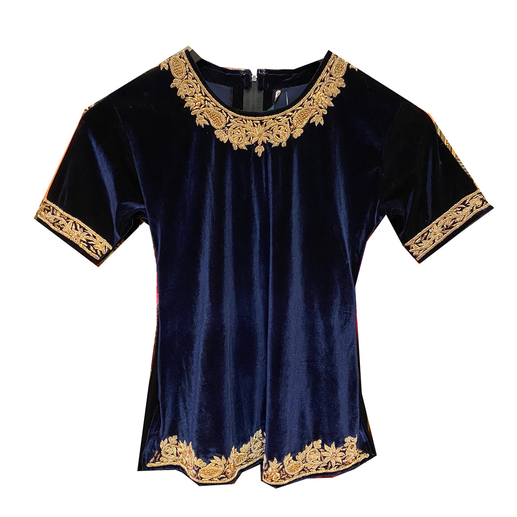Navy Velvet Top with Zardosi Embroidery - Vintage India NYC