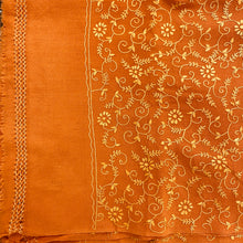 Handmade Vintage Orange Kashmiri Shawl - Vintage India NYC