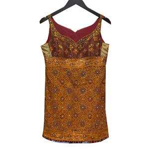 Rust and Orange Heavywork Top - Vintage India NYC