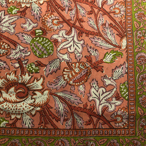 BR Peach Block Print Bedcover Collection - Vintage India NYC