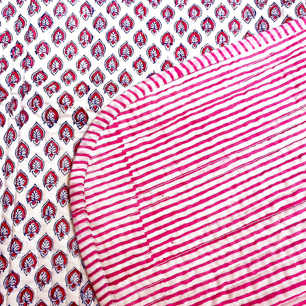 SC Blockprint Baby Blankets-Pink & Blue - Vintage India NYC