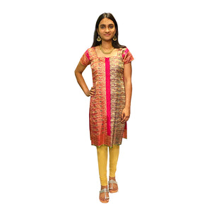 Vintage Pink Gold Brocade Dress - Vintage India NYC