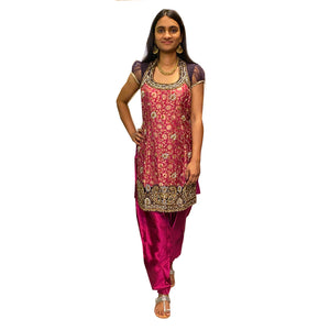Vintage Pink & Purple Brocade Kurti Set - Vintage India NYC