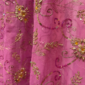 Vintage  Pink Purple  Silk Dupatta Scarf 8707 - Vintage India NYC