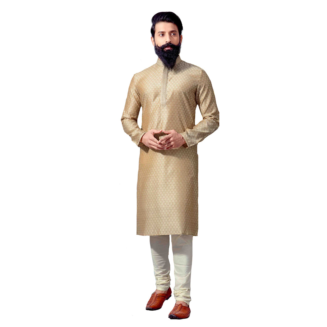 PK Tan Gold Brocade Kurta - Vintage India NYC